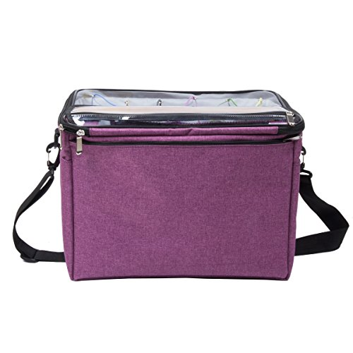 """Knitting Bag,Yarn Tote Organizer with Inner Divider for Crochet Hooks, Knitting Needles(up to 14""""),Project and Supplies,Easy to Carry,High Capacity (Purple) by BENGDA (Image #6)"""
