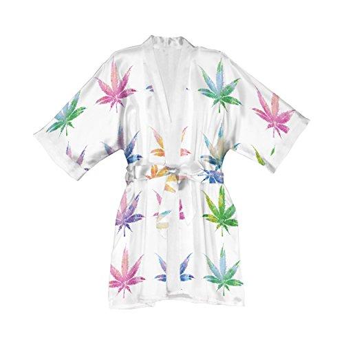 - Lume.ly - Marijuana Weed Cannabis Pot Leaf Plant Silk Kimono Robe, Luxury Designer Vibrant Art (White Multi Color)