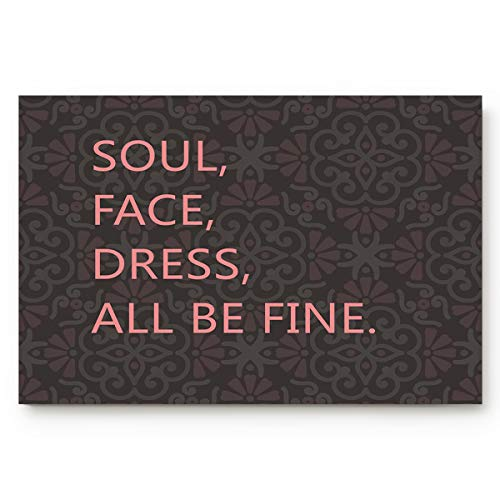 """Brawvy Inspiring Texts Soul Face Dress All be Fine Non Slip Shower Mat Absorbent Entry Way Rug for Bathroom Kitchen Toilet Floor, Comfortable Home Deco, 18"""" x 30"""""""