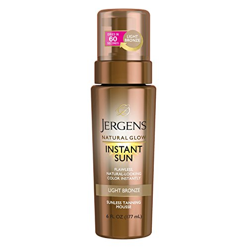 Jergens Natural Glow Instant Sun Sunless Tanning Mousse For Body, Light Bronze, 6 Ounces