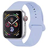 YANCH Compatible with for Apple Watch Band 38mm 40mm, Soft Silicone Sport Band Replacement Wrist Strap Compatible with for iWatch Nike+,Sport,Edition,S/M,White