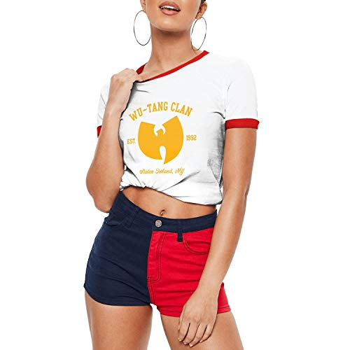 Dmamgk loang Girl Fitted Loose Round Neck Jersey Ringer Tee Shirt