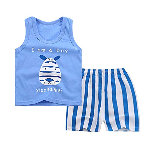 Sunyastor Toddler Kids Baby Boys Girl Sleeveless Cartoon Tracksuit Sport Suit Set T Shirt Tops Shorts Outfits Set Blue ()
