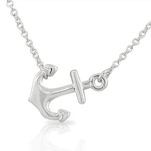925 Sterling Silver Classic Polished Anchor Horizontal Sideways Pendant Necklace, ()