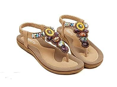 Amazon.com | SIKETU Women Sandals Bohemia Beaded Flats