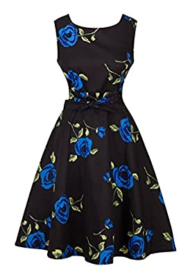 Angerella Retro 50s Party Cocktail Dresses Sleeveless Floral Dress