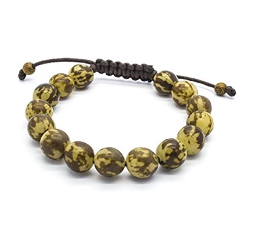 Green Nipa Hut 10mm Monk Bead Bracelet Made from Buri Seeds, Sliding Lock (6 in) (Buri Seed Anklets)