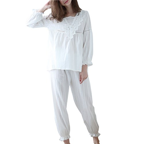 Zhhlinyuan Womens Long Sleeve Cotton Nightwear Fashion Soft Pullover Pyjama Set One Size White