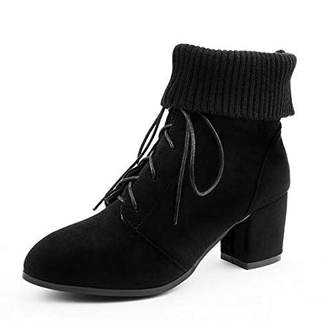 HAOLIEQUAN Flock Mujer Botines Elegantes Blcak Zapatos De Mujer Botas De Invierno Cuadrado Tacón Alto Moda Mujer Botas Tamaño 34-43: Amazon.es: Deportes y ...