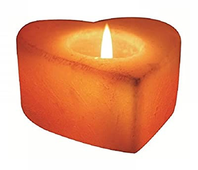 Heart Salt Candleholder Hand Carved - Heart Shape Himalayan Crystal Salt 1 Tealight Candle Holder