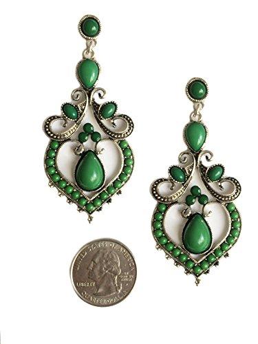 Silver Tone Filigree Scroll Green Acrylic Heart Long Dangle Statement Earrings