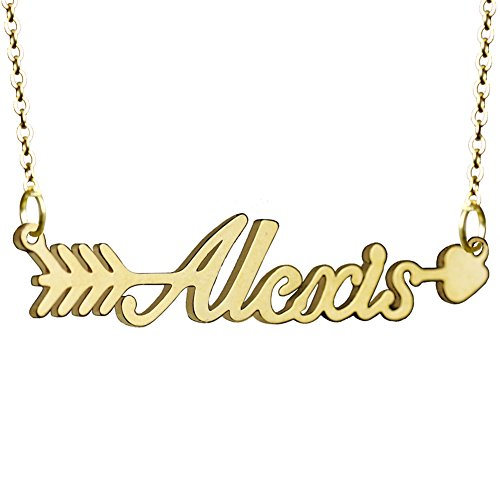 Arrow Pendant Gold Personalized Name Necklace for Women Girls Custom Jewelry Made Any Name ()
