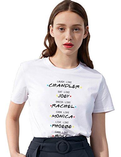 Dress Chandler - Friends T-Shirt TV Show Shirts Letter Printed Cute Logo Shirt Tops Cotton Tees Teen Girls Birthday Gift Women(wh-Chandler-S)