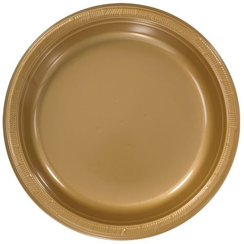 Price comparison product image Hanna K. Signature Collection 50 Count Plastic Plate, 10-Inch, Gold