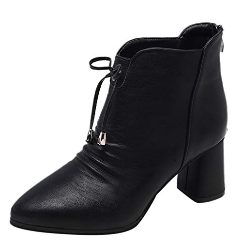 Vintage Womens Zipper Boots Solid Color Round Toe Thick Heel Bowknot Bootie Keep Warm Shoes