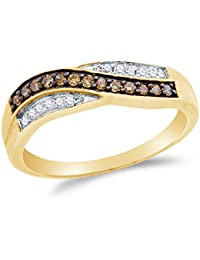 10K Yellow Gold Chocolate Brown & White Round Diamond Cross Over Fashion Ring - Channel Setting (1/4 cttw.)