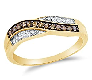 Size 7 - 10K Yellow Gold Chocolate Brown & White Round Diamond Cross Over Fashion Ring - Channel Setting (1/4 cttw.)