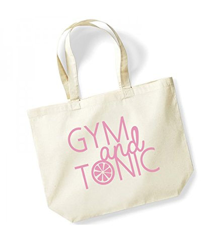 Gym and Tonic - Large Canvas Fun Slogan Tote Bag Natural/Pink
