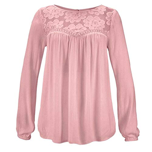 Women Tunic Blouse Long Sleeve Lace Patchwork Solid Color Print Loose Casual Tops (S, Pink) by Yihaojia Women Blouse (Image #1)