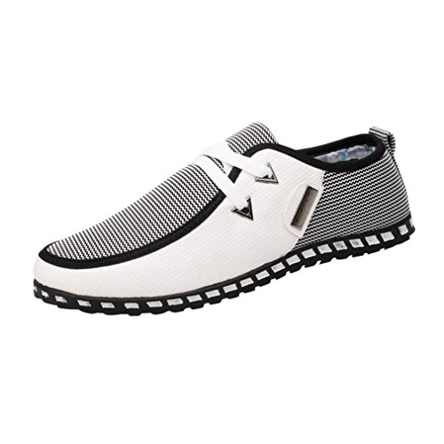 Transer Men Women Loafers, Leisure Flat Shoes, Mens Laides Comfy Running Sport Sneakers White