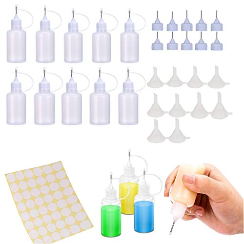 10pcs Precision Tip Applicator Bottle,10 Additional Tips & 10 Pcs Mini Funnel,Empty Glue Bottle for Gluing Project,DIY Quilling Craft and Acrylic Painting,Oiler Bottle, and Alcohol Ink to Use on Yupo ()