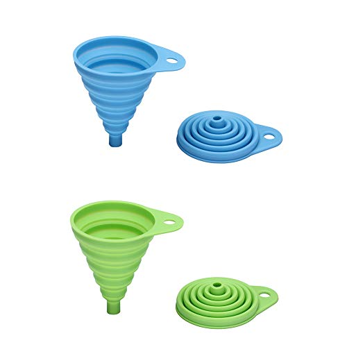 Rienar 2PCS Beautiful And Portable/Mini Kitchen Silicone Collapsible/Folding/Foldable Funnel(Green+Blue)