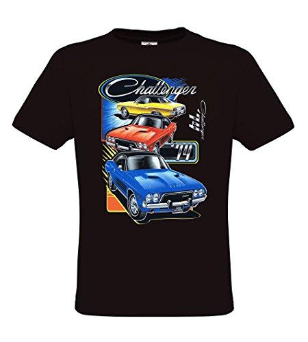 Ethno Designs Dodge Challenger - American Muscle Cars - Mens Vintage Rockabilly & Rock `n Roll T-Shirt - regular fit, black, size XXL