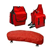 Derby Originals Nylon Saddle, Horn and Cantle Bag 3 Item Set for Horse Trail Riding (Red)