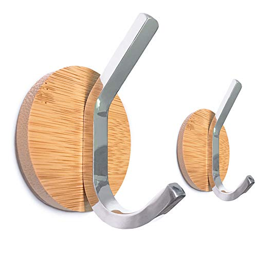 Adhesive Wall Hooks for Wall Natural Bamboo Key Holder Double Prong Stainless Steel Robe Hook, Heavy Duty Wall Hanger Bathroom Kitchen Cabinet Door Organizer for Towel Hat, Modern Utility Hook,2 Pack