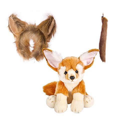 Wildlife Tree Stuffed Plush Fennec Fox Ears Headband and Tail Set with Baby Plush Toy Fennec Fox Bundle for Pretend Play Animals Dressup