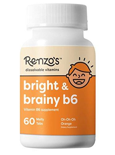 Renzo est Lumineux Et Intelligent B6, Temporaire de Vitamines pour les Enfants, Vegan, sans Sucre, Oh-Oh-Oh Saveur d'Orange, 60 Fonte des Onglets, Supplément de Vitamine B6 pour les Enfants