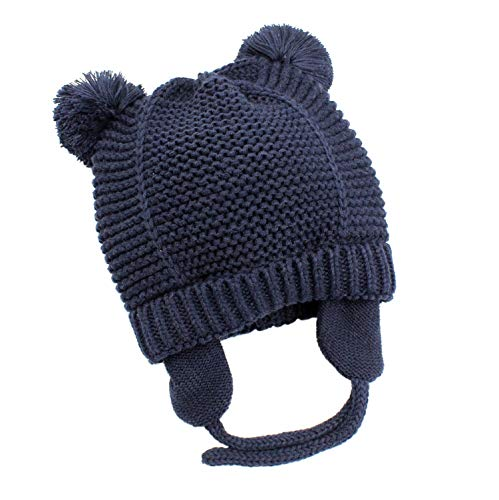 Bestjybt Baby Hat Cute Bear Toddler Earflap Fleece Lined Beanie Warm for Fall Winter (Navy, 10-18 Months)