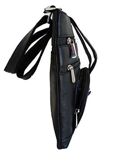 GRAN BOLSILLOS Cuerpo Cuello en x 3cm Negro CREMALLERA funda con al hombre lateral ancho Bolsa Cruz o 25cm Organizador Auténtica Cuero rl177k Piel Profundo 20cm altura viaje de 5 Vacaciones vZwR8qXxX