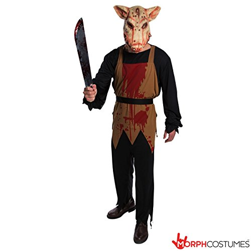 Mens Pig Butcher Saw Costume - Cheap High Quality Costume Large (42-44 Inch/107-112 cm (Butcher Pig Costumes)