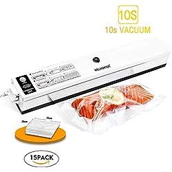 Vacuum Sealer,Welhunter Food Vacuum Packing Machine with Vacuum Hose Automatic Vacuum Sealing System With 15pcs Sealer Bags