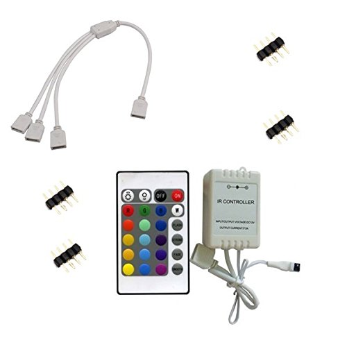 Morelight tira LED RGB 4Pin 4Way Conector Hembra Splitter & 4x Male Plug & IR Controler