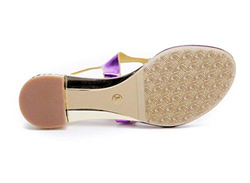 SHFANG Sandalias de las señoras Flor de verano Rhinestones Flat Bottom Banquete de lujo Beach Party Daily Purple 3cm purple (coarse heel)