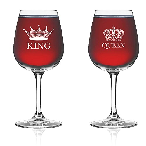 King Wine Queen Wine Glass (Set of 2) - Couples Newlyweds Wedding (Novelty Drinking Glasses)