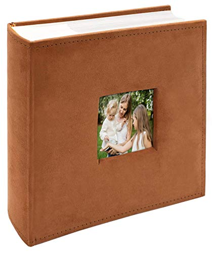 Golden State Art, Wedding Family Baby Holiday Photo Album Christmas, Vacation, Anniversary Photography book for 200 4x6 Pictures Pockets with Memo, 2 Per Page Large Capacity Rusty Bronze Suede