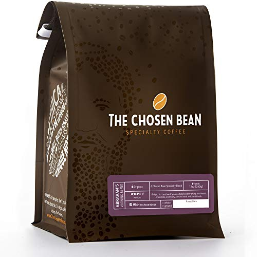 The Chosen Bean Premium Coffee Roasters, Abrahams Mocha Java Light Roast Whole Coffee Beans, Small Batch Roasted, Organic, and Fair Trade 12 oz