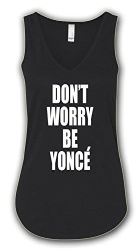 Don't Worry Be Yonce, Flowy Boxy V-Tank Top-S-Black
