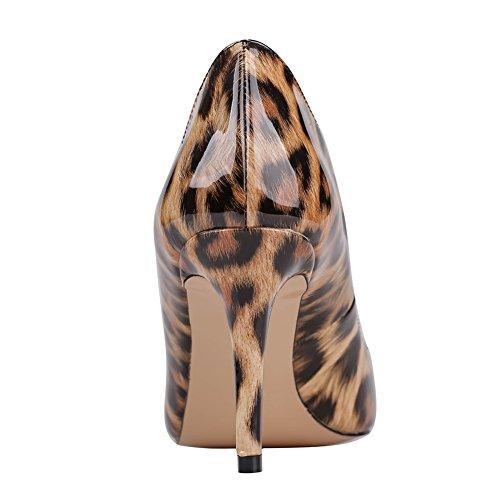 Merumote Mujeres Y-05041 Punta Estrecha Vestido De Tacones Medio Classic Pumps Us 5.5-15 Leopard-patent