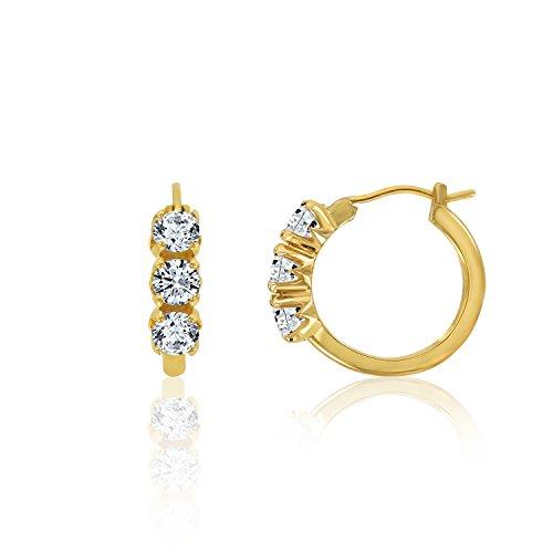 3 Stone Hoop Earrings (DIAMONBLISS Platinum or 18K Yellow Gold Clad Cubic Zirconia 3-stone Hoop Earrings- 18K Yellow Gold)