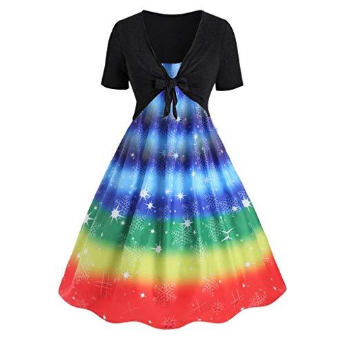 (♛TIANMI Women's Summer Fresh Rainbow Print Dress Sling Set Cardigan Two-Piece Set,Women for Dress(Black,XL))