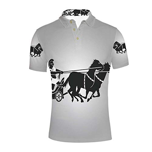 Toga Party Durable Polo Shirt,Mythological Chariot Gladiator with Horse Traditional Greek Culture Image Decorative for -