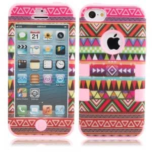 3-in-1 Red Tribe Pattern Protective Case for iPhone 5C Pink