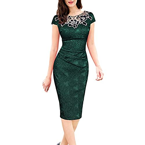 OTEN Womens Bodycon Patchwork Formal Midi Cocktail Evening Prom Party Dress (XX-Large, Green)