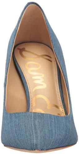 Con Punta De Cerrada Azul mid Sam Zapatos Edelman Tacón Denim Blue Mujer Para Hazel qxZX6