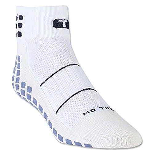 (TRUSOX Ankle Length Thin Large No Slip Socks For Running, Tennis, Basketball, Lacrosse, Football, Baseball, Soccer, Volleyball Or Rugby, 1 Pair, White, Shoes Size Men 10 and up, Women 10.5 and up)