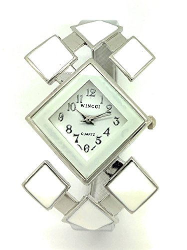 Ladies Stylish Casual Triangle Enamel Bangle Cuff Fashion Watch Wincci (White)